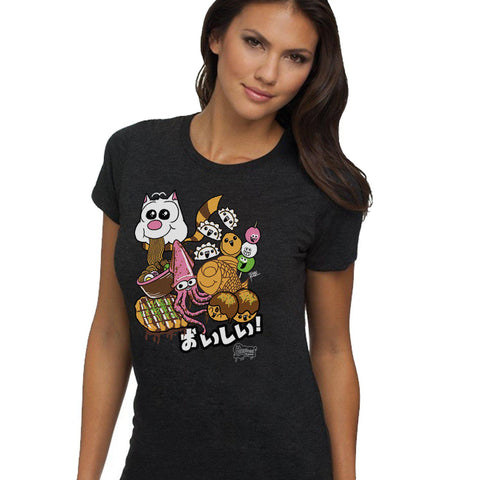 Oishii Japanese Street Food Women's Tee - Purridge & Friends - Furry Feline Creatives