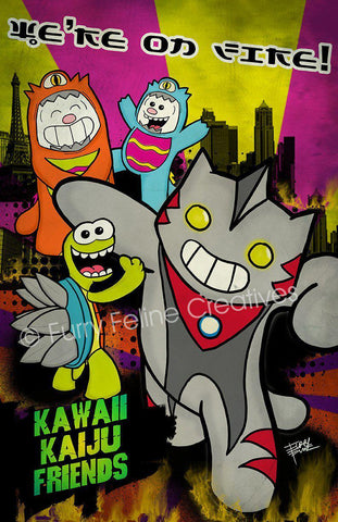 11x17 Kawaii Kaiju Print - Purridge & Friends - Furry Feline Creatives