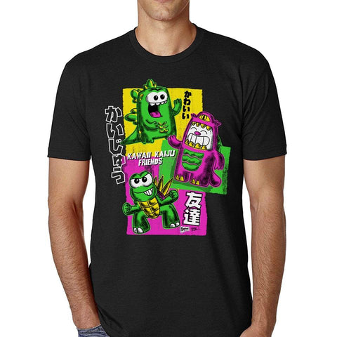 Kawaii Kaiju Friends Men's Tee - Purridge & Friends - Furry Feline Creatives
