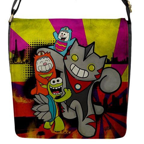 Kawaii Kaiju Messenger bag - Purridge & Friends - Furry Feline Creatives