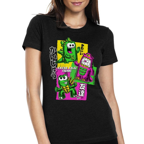 Kawaii Kaiju Friends Women's Tee - Purridge & Friends - Furry Feline Creatives