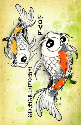 11x17 Koi Love & Friendship Print - Purridge & Friends - Furry Feline Creatives
