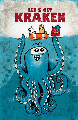 11x17 Let's Get Kraken Print - Furry Feline Creatives - Furry Feline Creatives