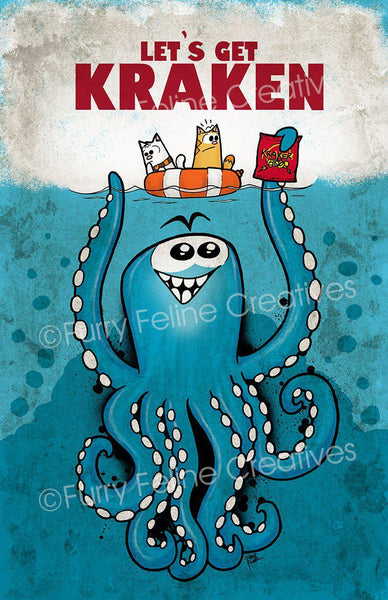 11x17 Let's Get Kraken Print - Purridge & Friends - Furry Feline Creatives