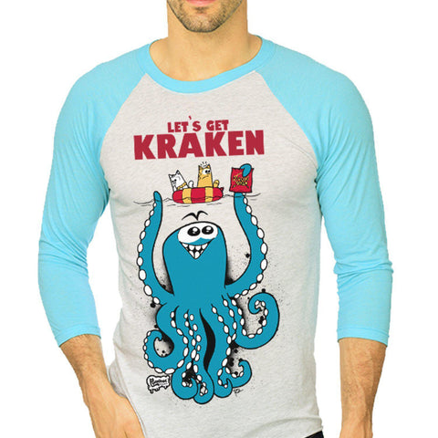 The Kraken Unisex Raglan Tee - Furry Feline Creatives - Furry Feline Creatives