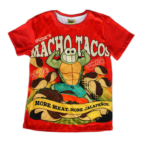 All-Over Print Macho Tacos Cotton Tee - Furry Feline Creatives