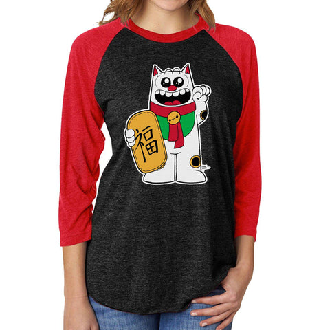 Maneki Neko Purridge Unisex Raglan Tee - Purridge & Friends - Furry Feline Creatives