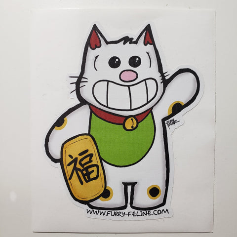 Purridge Maneki Neko Reusable Sticker - Purridge & Friends - Furry Feline Creatives