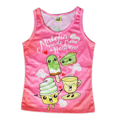 Matcha Made In Heaven Women's All Over Tank - Tompot Strips - Furry Feline Creatives