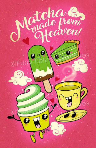 11x17 Matcha Made From Heaven Print - Purridge & Friends - Furry Feline Creatives