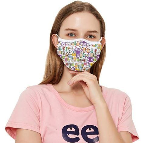 PF Kawaii Collage Fitted Cloth Face Mask  With Filters