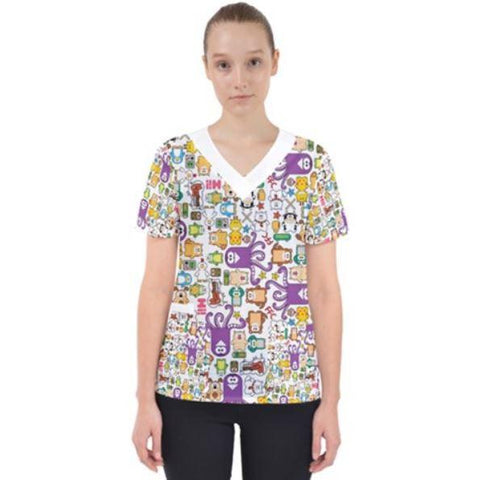 PF Kawaii Women's V-Neck Scrub Top - Purridge & Friends - Furry Feline Creatives