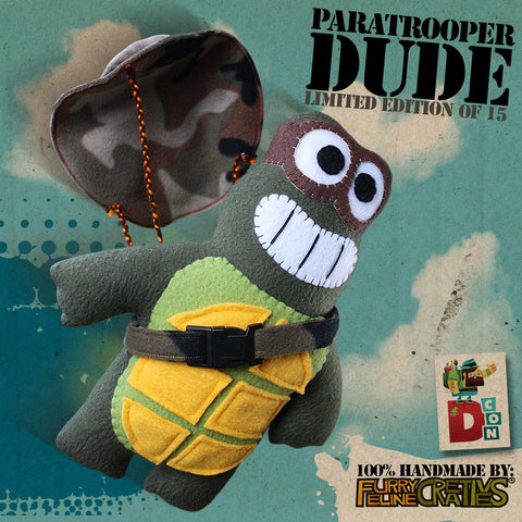 Handmade Paratrooper Dude Plush (Limited Edition) - Furry Feline Creatives