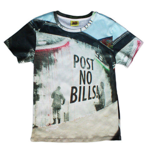 All-Over Print Post No Bills Photollustration Cotton Tee - Purridge & Friends - Furry Feline Creatives