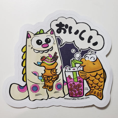 Purridge Negora & Taiyaki Reusable Sticker - Purridge & Friends - Furry Feline Creatives