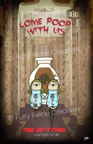 11x17 The Sh*tting Twins Print - I Heart Poop Culture - Furry Feline Creatives