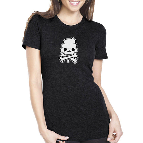 Skully Poop Crossbones Women's Tee - Furry Feline Creatives - Furry Feline Creatives