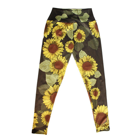 Sunflower Doodle Yoga Leggings - Purridge & Friends - Furry Feline Creatives