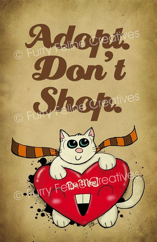 11x17 Adopt Don't Shop Print - Purridge & Friends - Furry Feline Creatives