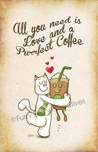 11x17 Catpuccino Purrfect Coffee Print - Furry Feline Creatives
