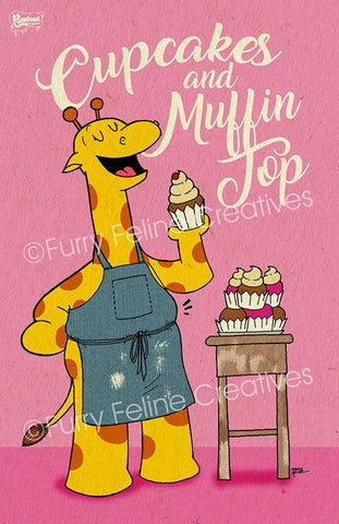 11x17 Cupcakes And Muffin Top Print - Purridge & Friends - Furry Feline Creatives