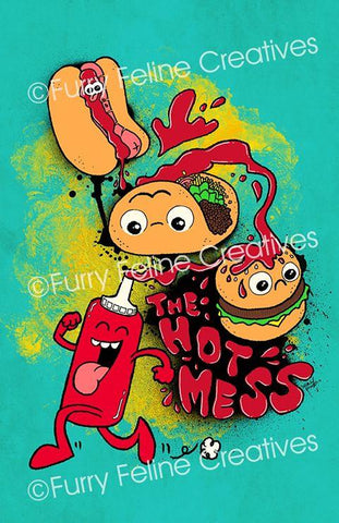 11x17  Hot Mess Print - Tompot Strips - Furry Feline Creatives