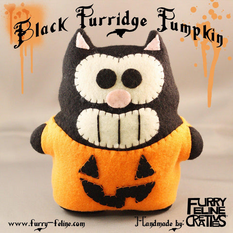 "Black Purridge Pumpkin 7"" Plush - Furry Feline Creatives"