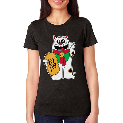 Maneki Neko Women's Tee - Purridge & Friends - Furry Feline Creatives