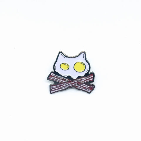 Purridge Bacon & Eggs Enamel Pin - Purridge & Friends - Furry Feline Creatives