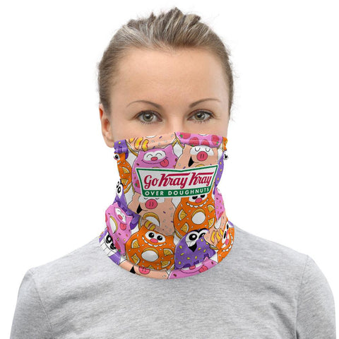 PF Whole Lotsa Doughnuts Pink Face Mask / Neck Gaiter - Purridge & Friends - Furry Feline Creatives