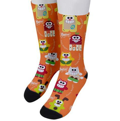 PF Fruity Delights Unisex Crew Socks - Purridge & Friends - Furry Feline Creatives
