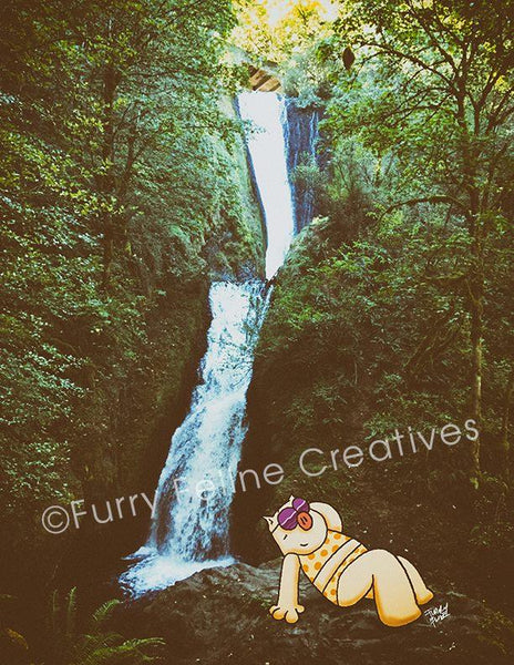 8.5 x11 Chillaxin Photollustraion Print - Purridge & Friends - Furry Feline Creatives