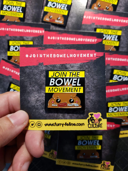Bowel Movement Enamel Pin - I Heart Poop Culture - Furry Feline Creatives