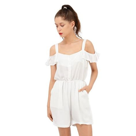 Custom Ruffle Cut Out Chiffon Romper