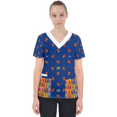 Purridge Spam Women's V-Neck Scrub Top - Purridge & Friends - Furry Feline Creatives