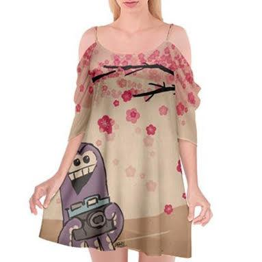 Chef Tako Cutout Spaghetti Strap Chiffon Dress - Purridge & Friends - Furry Feline Creatives