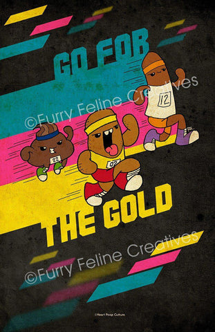 11x17  The Runs Go For Gold Print - I Heart Poop Culture - Furry Feline Creatives