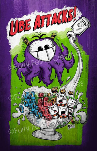 11x17 Ube Attacks Print - Purridge & Friends - Furry Feline Creatives