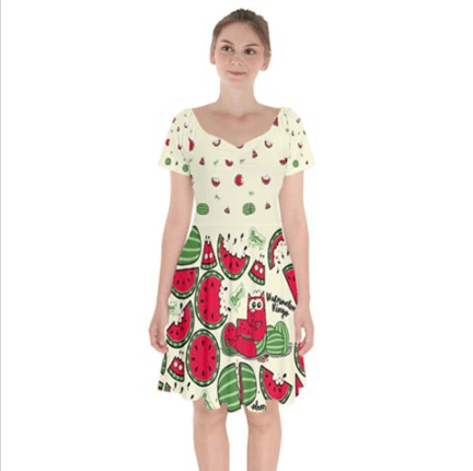 Watermelon Ringo Bardot Dress - Purridge & Friends - Furry Feline Creatives