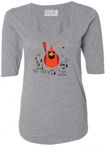 "Charley Harper's ""Cardinal"" Ladies 1/2 Sleeve Top"