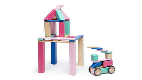 Tegu Magnetic Wooden Block Set in Blossom 42-Piece