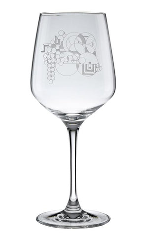 Deep Etched May Basket Wine Glass