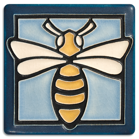 4x4 Bee Art Tile - Light Blue