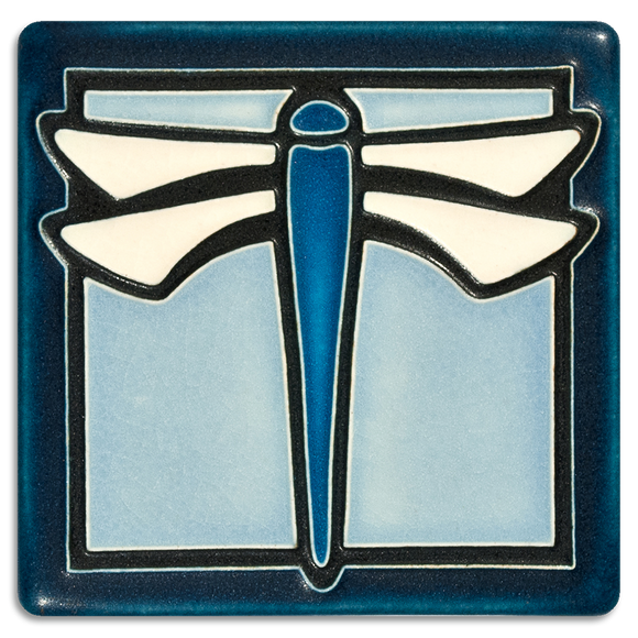 4x4 Dragonfly Art Tile - Light Blue