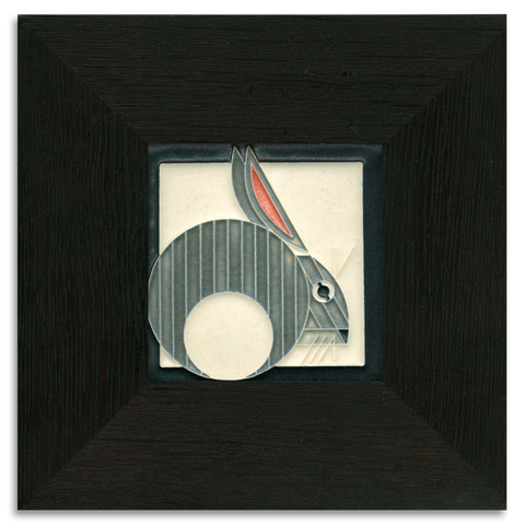 4x4 Hare Grey Art Tile, Framed