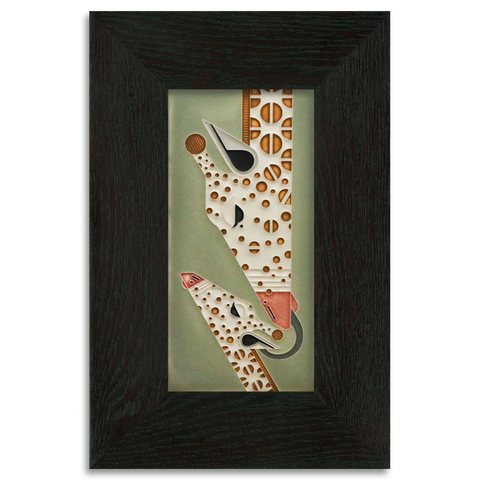 4x8 Sage Giraffe and a Half Art Tile, Framed