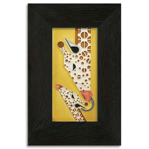 4x8 Yellow Giraffe and a Half Art Tile, Framed