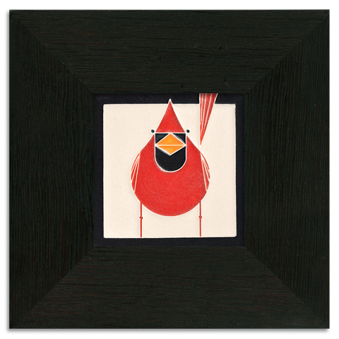 4x4 Cardinal Art Tile, Framed