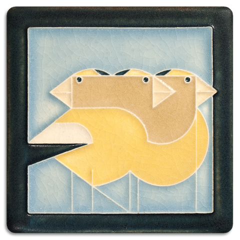 4x4 Grosbeaks Pale Blue Art Tile