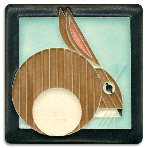 4x4 Hare Light Blue Art Tile